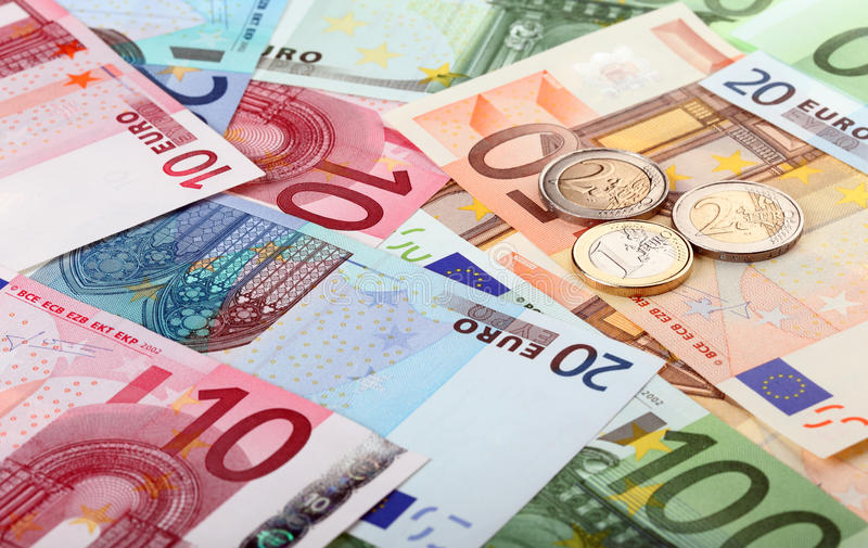 Download Euro banknotes and coins stock image. Image of hundred - 21685541