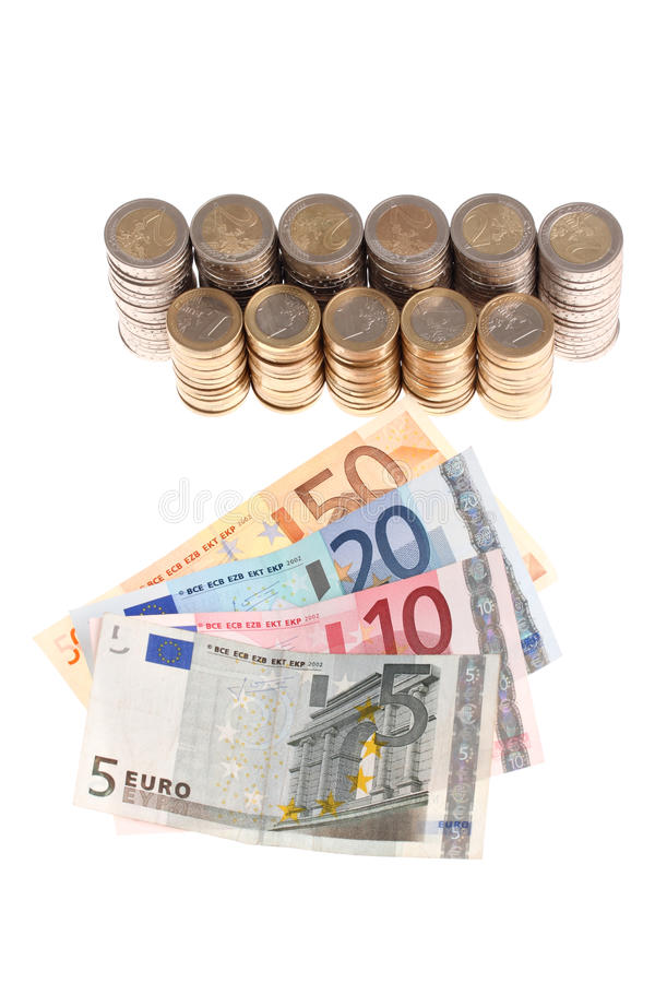 Download Euro Banknotes And Coins Organized In Columns Stock Photo - Image: 14851358