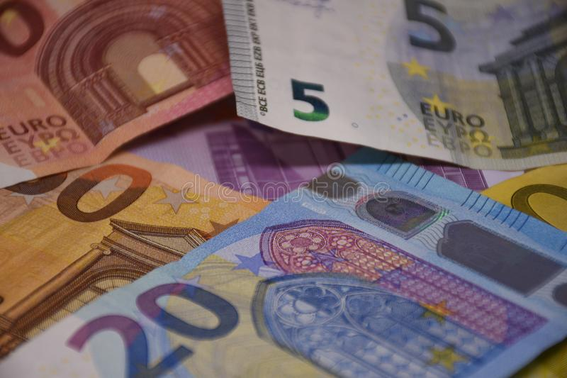 Euro banknotes Euro banknotes and coins stock photo
