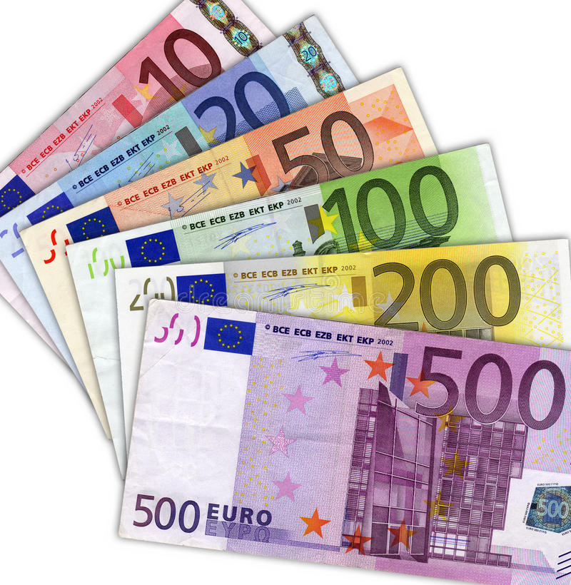 Euro banknotes. Isolated on white royalty free stock images