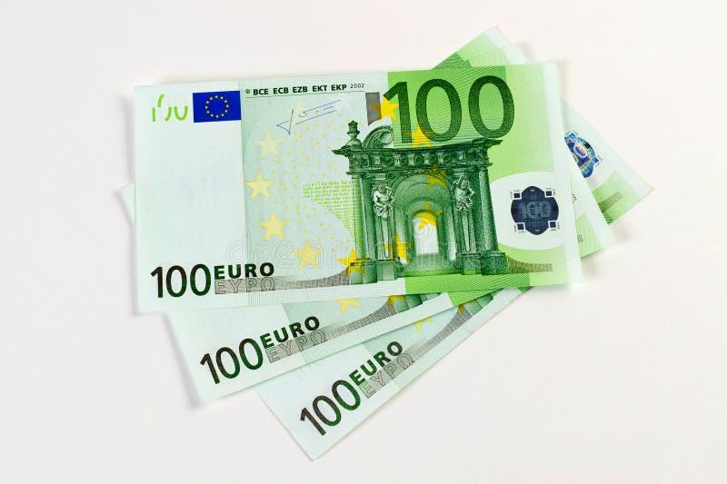 300 Euro banknotes. Euro banknotes isolated on white royalty free stock photos