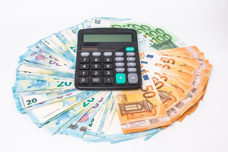 Euro banknotes Laid out in a cicircle on white background. Money finance earning sector concept. Copy space for text. Loans and debts concept. Euro banknotes royalty free stock photos