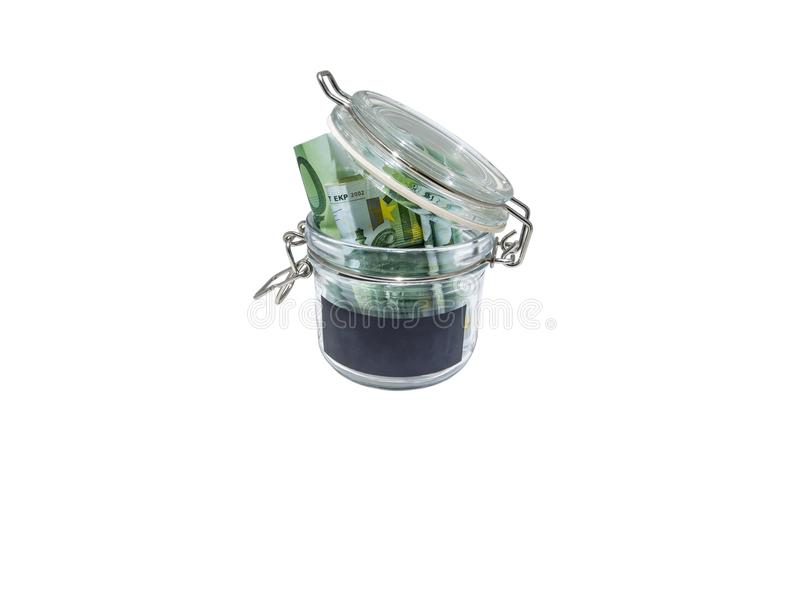 Euro banknotes in an open glass jar with black blank sticker royalty free stock image