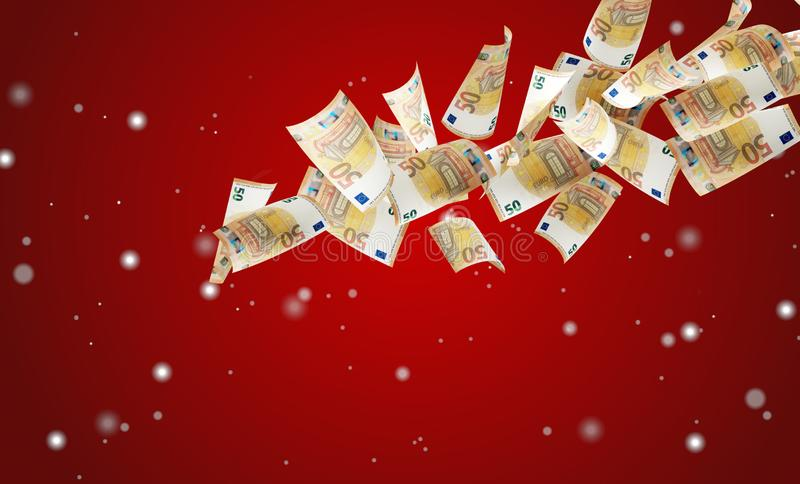 50 euro banknotes with snowflakes over red background 3d-illustration vector illustration