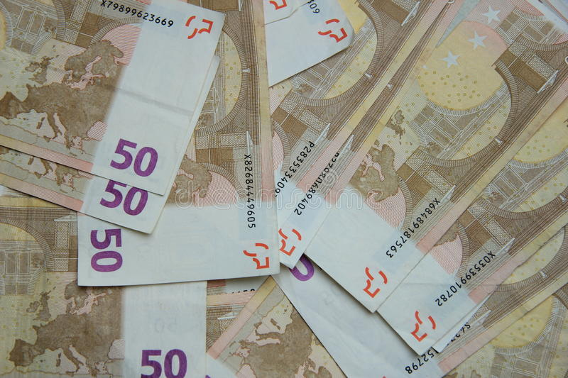 50 euro banknotes. A stack of 50 euro banknotes, european currency stock photography