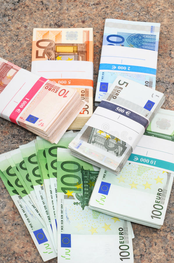 Euro. Banknotes in a studio shot royalty free stock photography
