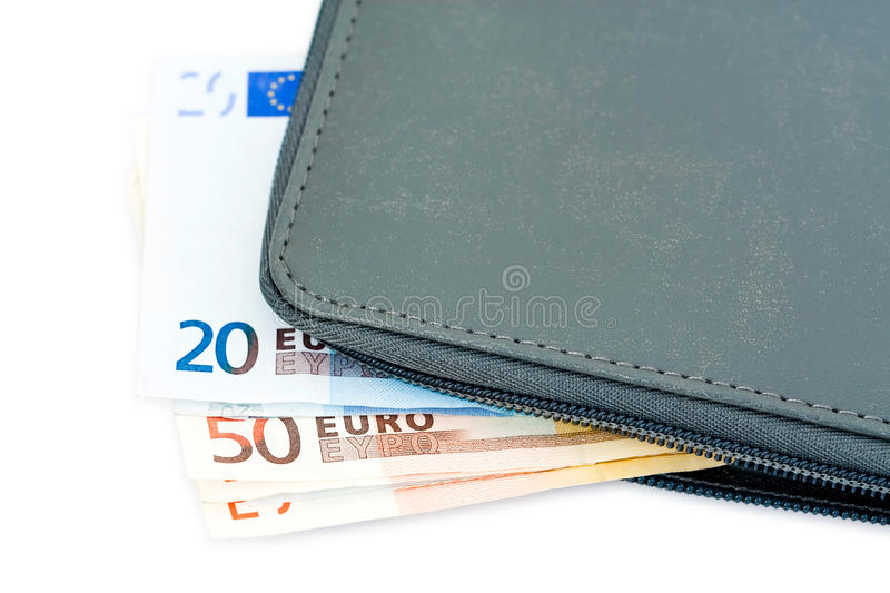 Euro banknotes in wallet. Different denomination Euro banknotes in wallet or billfold, isolated on white background stock photo