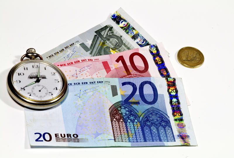 Download Euro banknotes and watch stock photo. Image of euro, background - 18277688