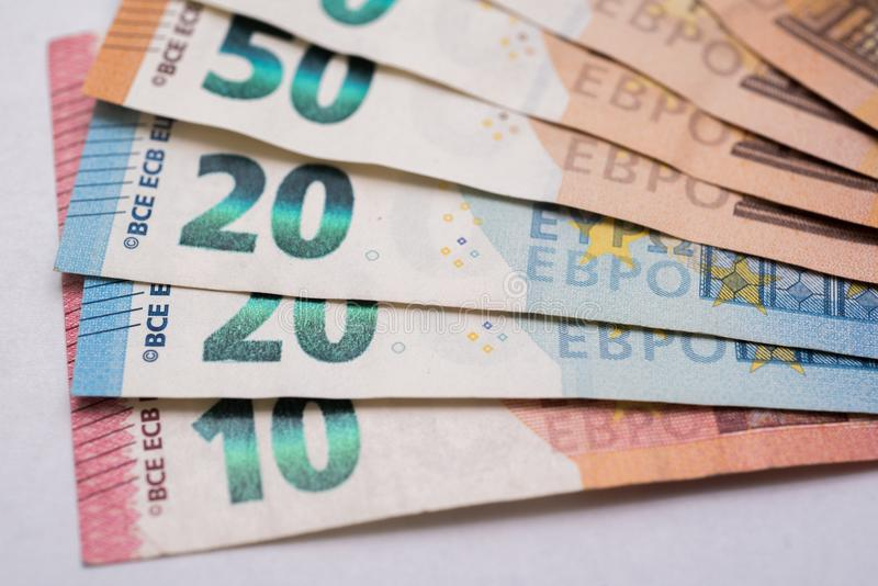 Euro banknotes on white background. 50, 20 and 10 euro banknotes on white background stock photo