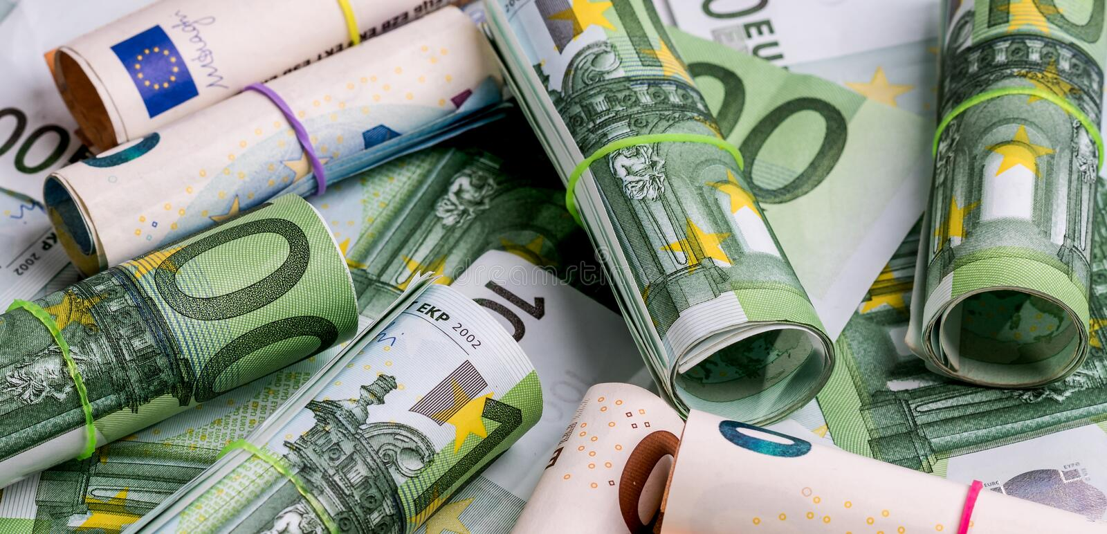 Euro banknotes on white background several hundred euros detail royalty free stock photo