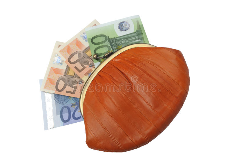 Euro Banknotes in a woman's stylish purse stock image