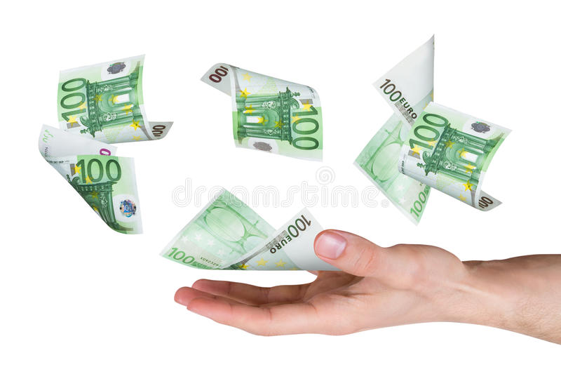 Euro Banknotes on Young Male Hand royalty free stock images