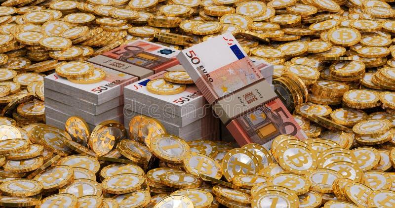 Euro banknoty i złoty Bitcoins obraz royalty free