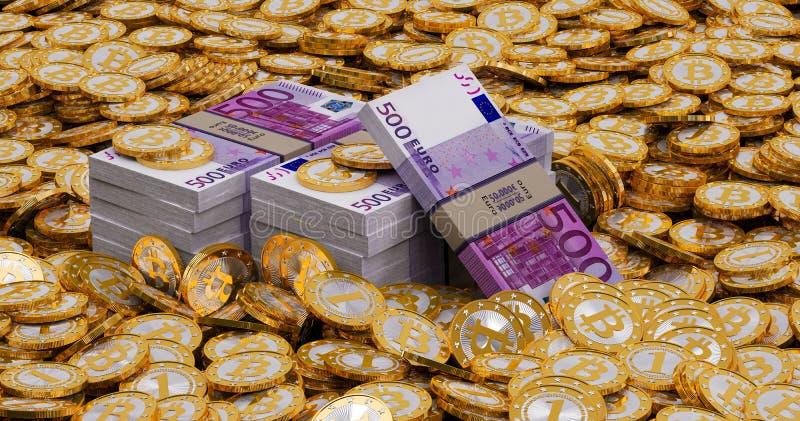 Euro banknoty i złoty Bitcoins fotografia royalty free