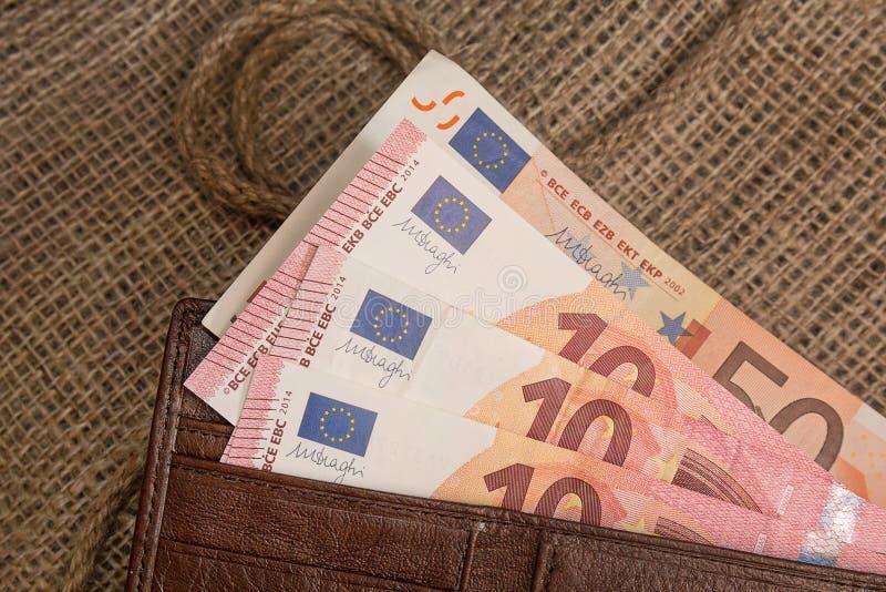 Euro banknoty w kiesie fotografia royalty free