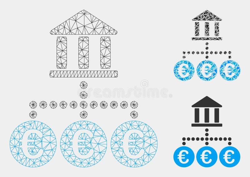 Euro Banktransacties Vector het Mozaïekpictogram van Mesh Wire Frame Model en van de Driehoek vector illustratie
