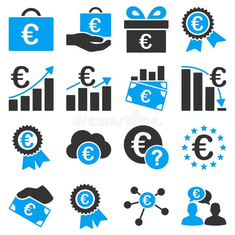 Euro bankzaken en de diensthulpmiddelenpictogrammen stock illustratie