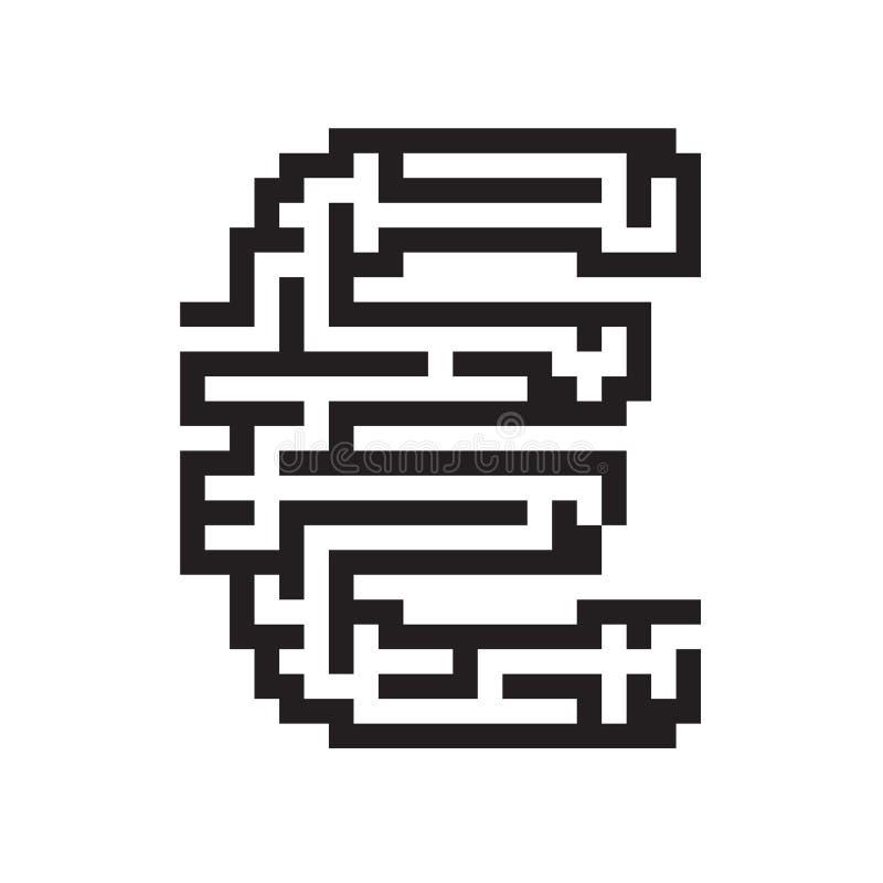 Euro bedrijfs vlakke zwarte labyrintvector vector illustratie