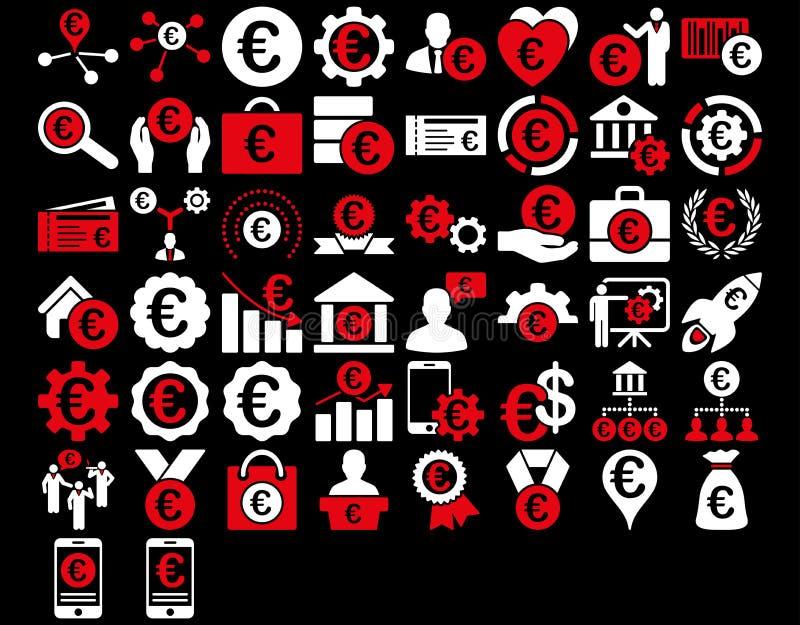 Euro Bedrijfspictogrammen vector illustratie