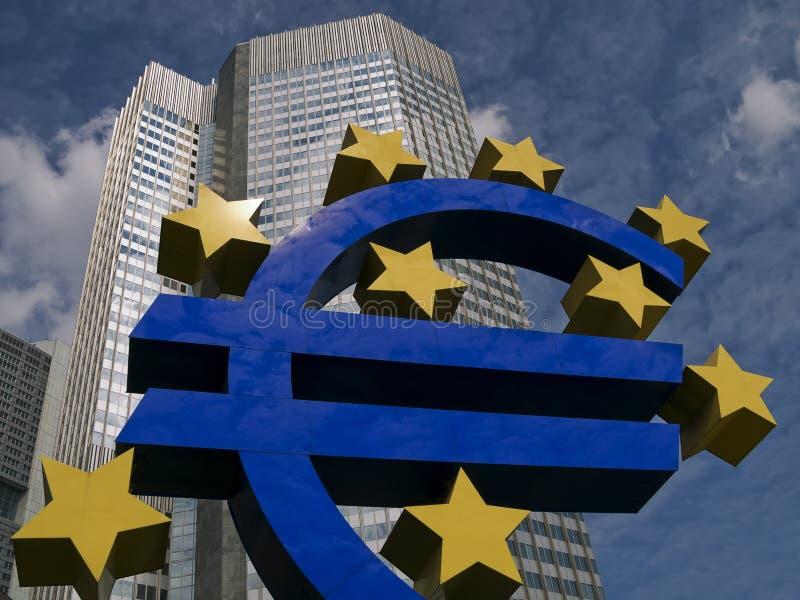 Euro beeldhouwwerk Frankfurt royalty-vrije stock foto