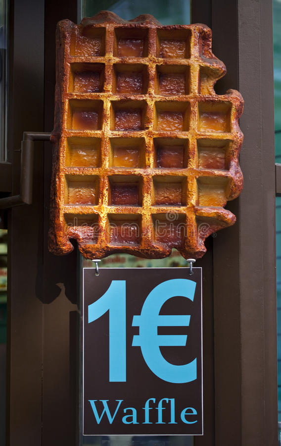 1 Euro for a Belgian Waffle stock image