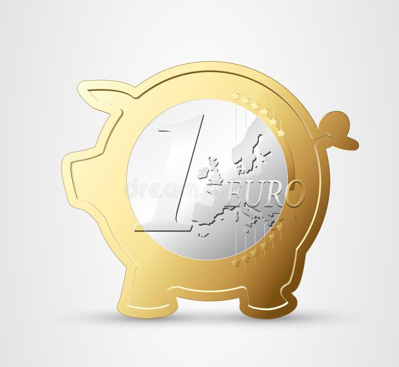Euro - besparingsvarken royalty-vrije illustratie