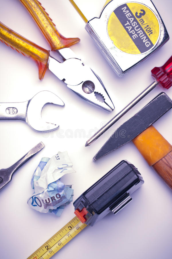Euro Bill And Tools To Fix It Stock Image