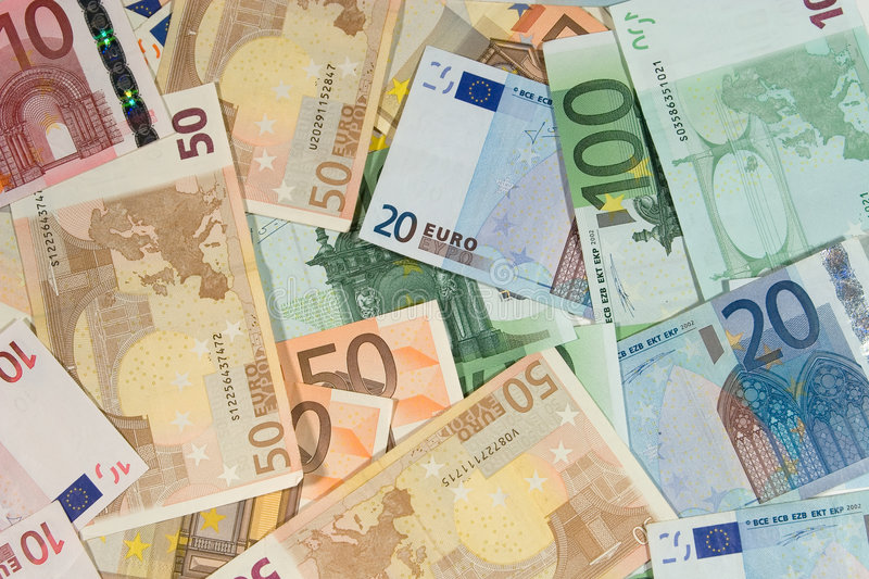 Euro bills (as a background) stock image