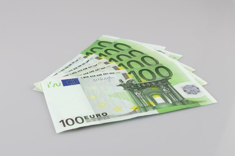 100 euro bills euro banknotes money. European Union Currency.  Isolated background royalty free stock photography