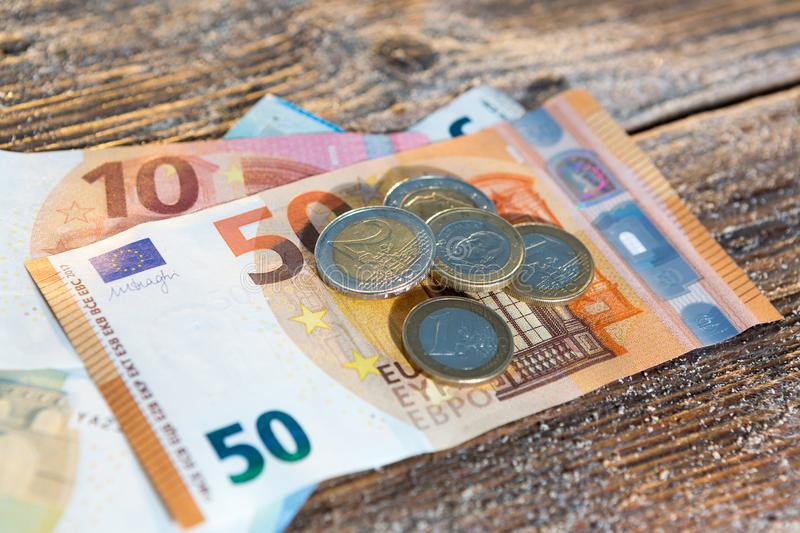 Euro bills and coins - cash money royalty free stock images