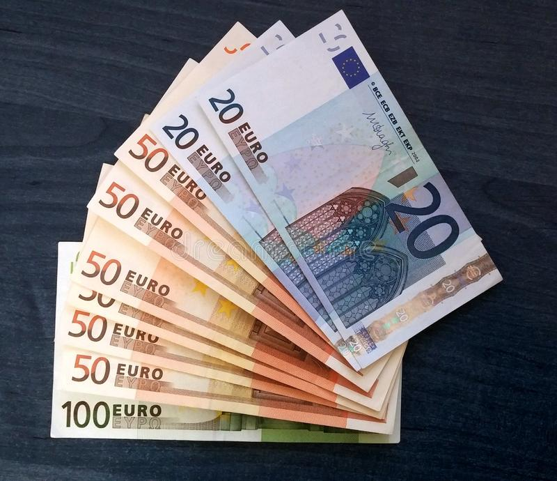 Euro bills stock photos