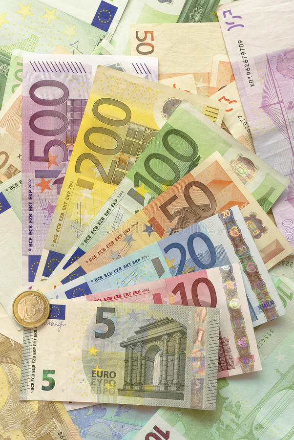 Download Euro Bills with Euro Coin stock photo. Image of cash - 32076002