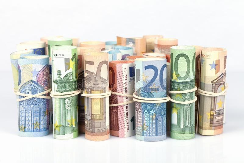 The euro bills most used by Europeans are those of 5 10 20 50 an stock photography