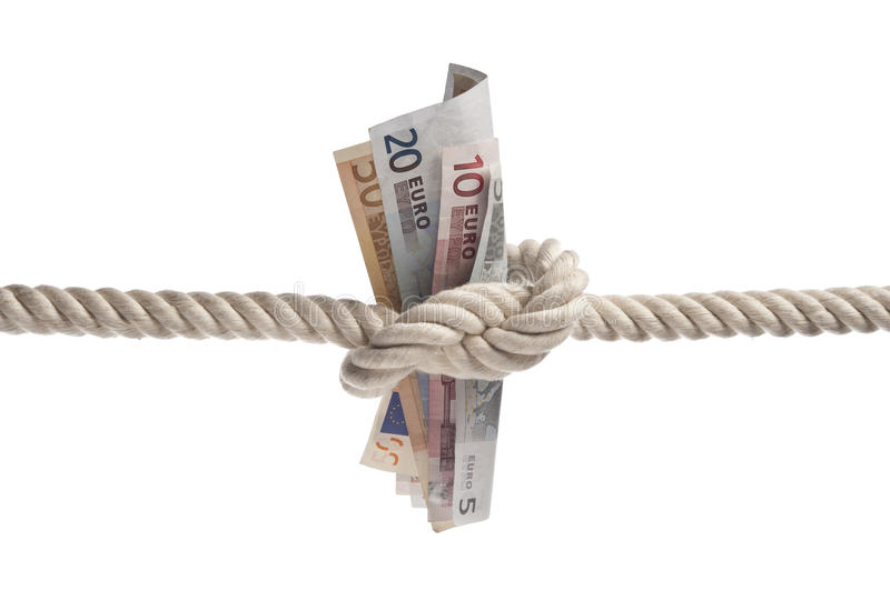 Euro bills tied with rope. On white background with copy space royalty free stock photo