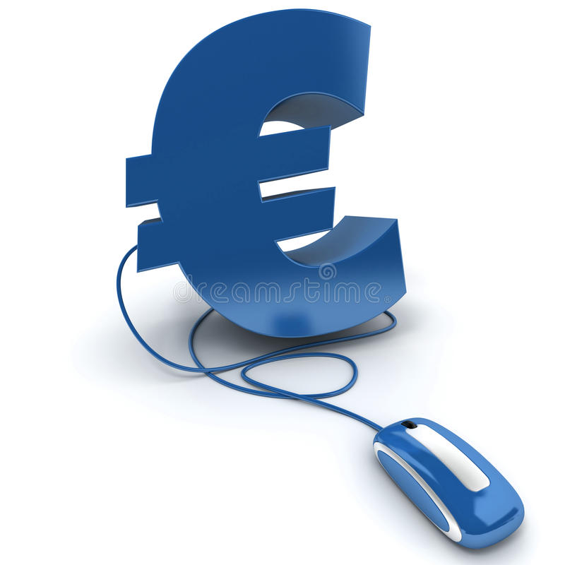 Euro bleu en ligne illustration stock