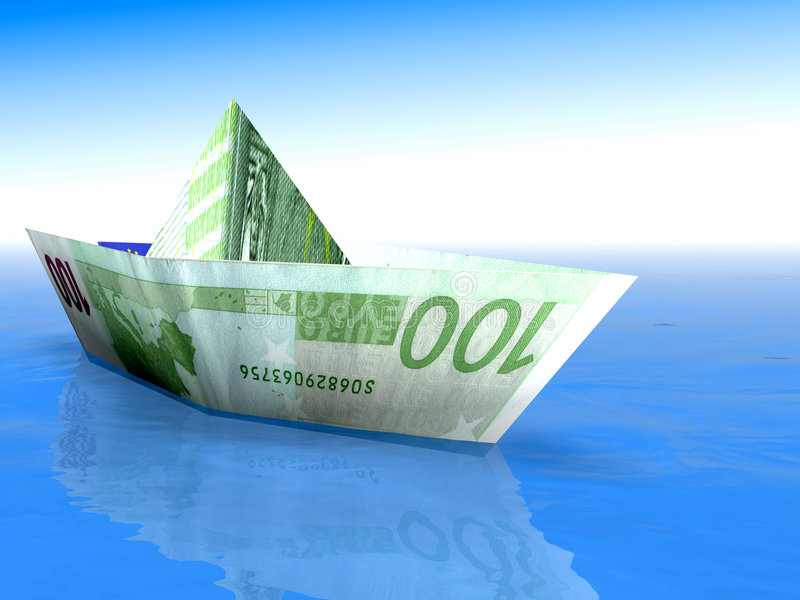Euro Boat 20. 3d image of a hundred euro on the sea