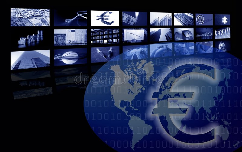 Euro Business corporate image, multiple screen royalty free stock photos