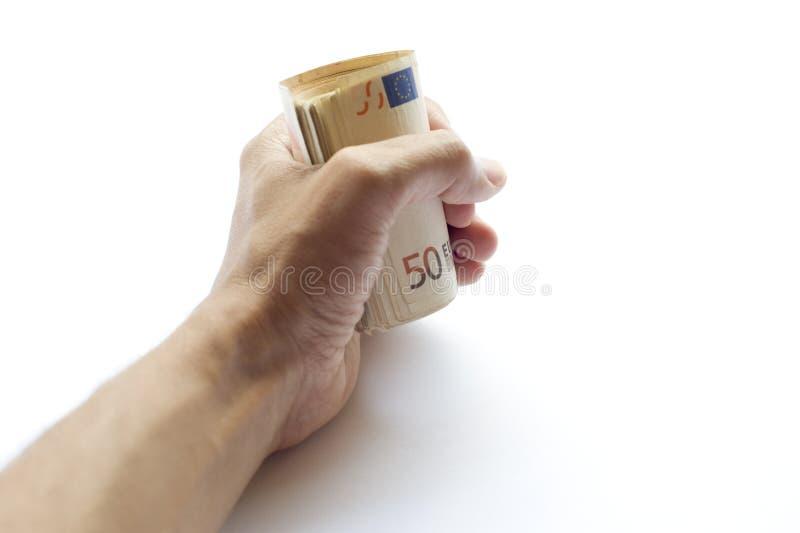 Euro- cédula conceptual do papel moeda na mão do ser humano ou do homem imagem de stock royalty free