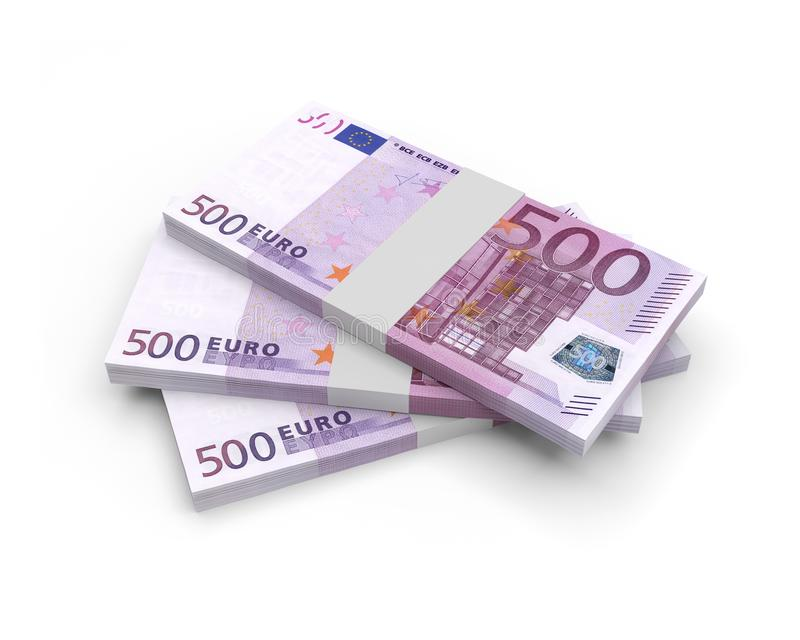Euro- cédulas 3D da moeda ilustração royalty free