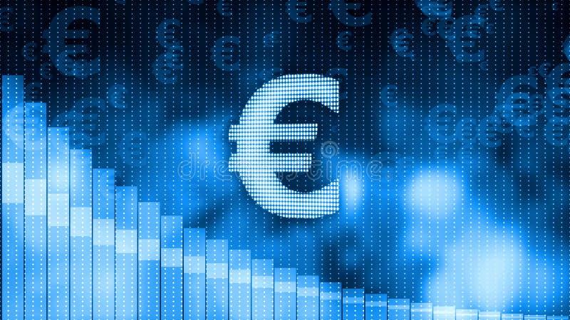 Euro cadere, fondo discendente del grafico, crisi di mondo, crollo del mercato azionario fotografia stock libera da diritti
