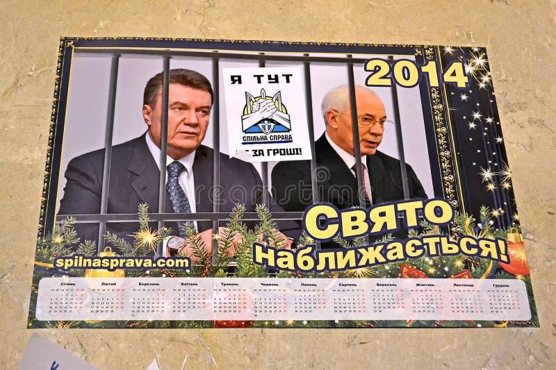 Euro calendario maidan nel corso della riunione a Kiev, Ucraina, immagini stock