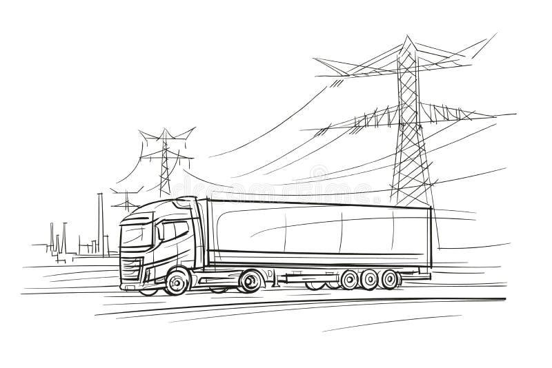 Euro camion nell'illustrazione industial di zona Vettore royalty illustrazione gratis