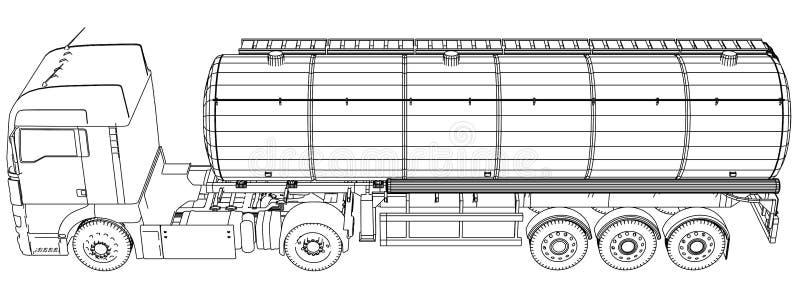 Euro camion, rimorchio dell'olio Autocisterna della benzina Illustrazione creata di 3d Cavo-struttura illustrazione di stock