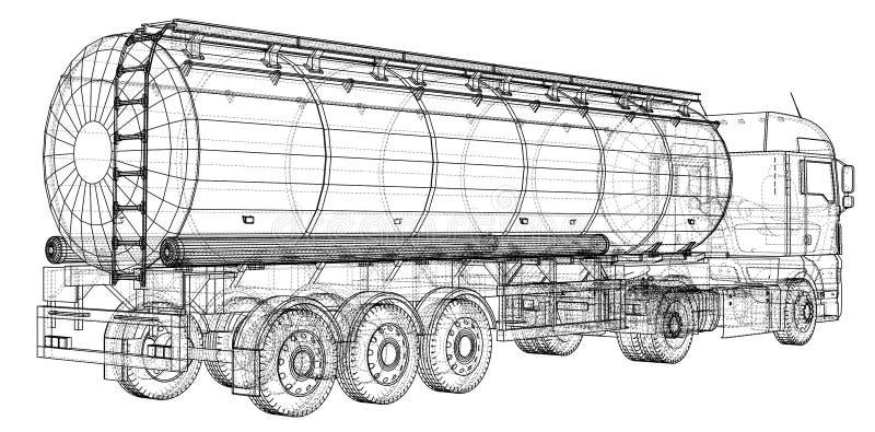 Euro camion, rimorchio dell'olio Autocisterna della benzina Illustrazione creata di 3d Cavo-struttura illustrazione vettoriale