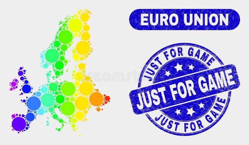 Euro carte et grunge colorés des syndicats de mosaïque juste pour le timbre de jeu illustration libre de droits