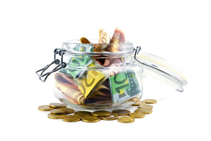 Euro cash in glass jar stock photo