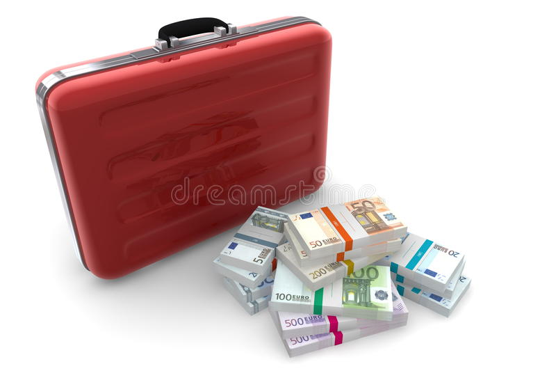 Download Euro Cash Packets And Metallic Red Briefcase Stock Illustration - Image: 23844627