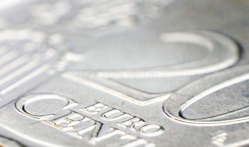 20 Euro cent coin detail. Detail on a 20 Euro cent coin royalty free stock photo
