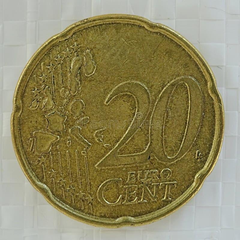 20 Euro cent error coin. 20 Euro cent rare error coin with defect on metal stock image