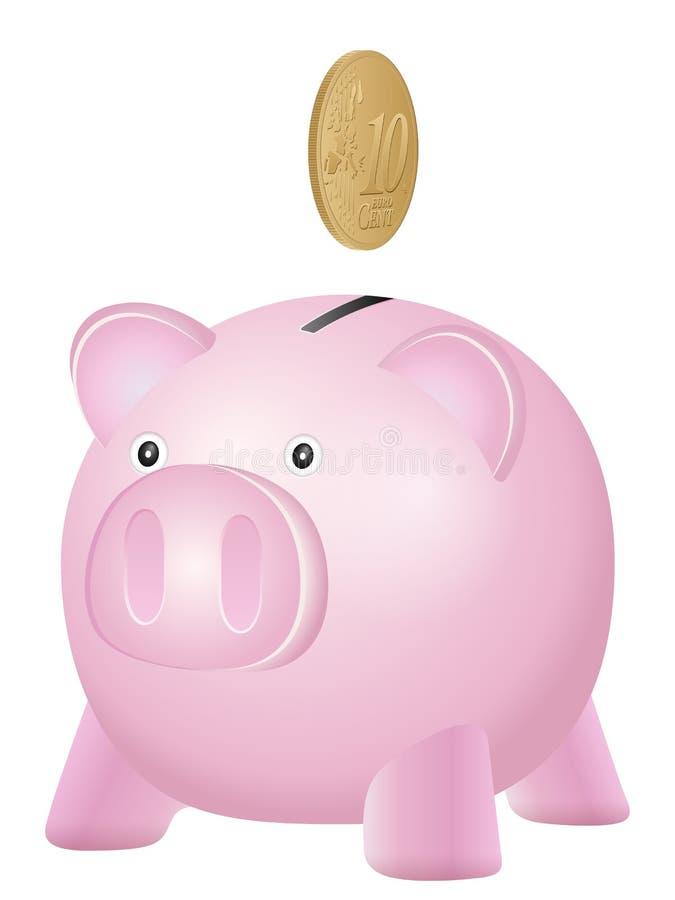 Euro- centavo do mealheiro dez ilustração stock